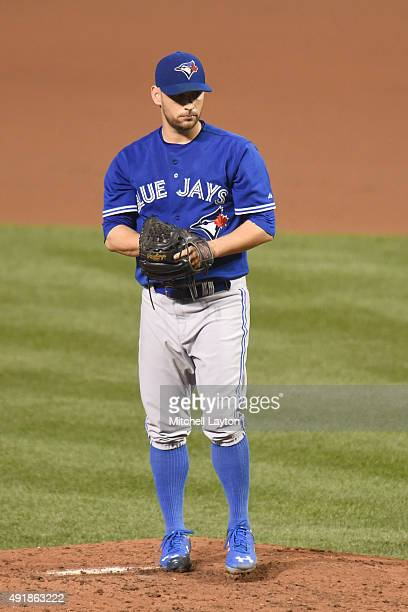Marco Estrada of the Toronto Blue Jays pitches during a baseball game against the Baltimore Orioles at Oriole Park at Camden Yards on September 28...