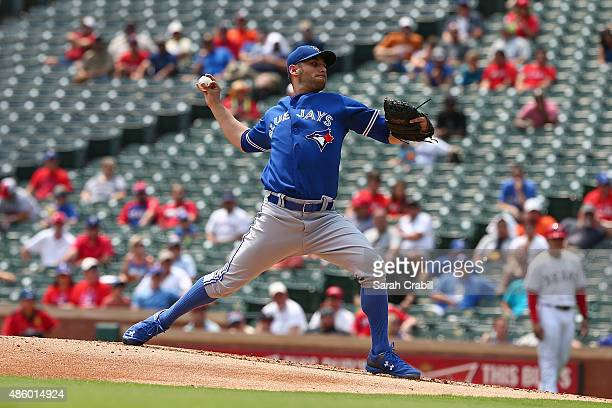 Marco Estrada of the Toronto Blue Jays pitches during a game against the Texas Rangers at Globe Life Park in Arlington on August 27, 2015 in...