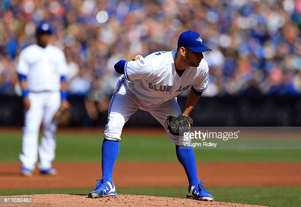 Marco Estrada of the Toronto Blue Jays pitches during a MLB game against the New York Yankees on September 25 2016 at Rogers Centre in Toronto Canada