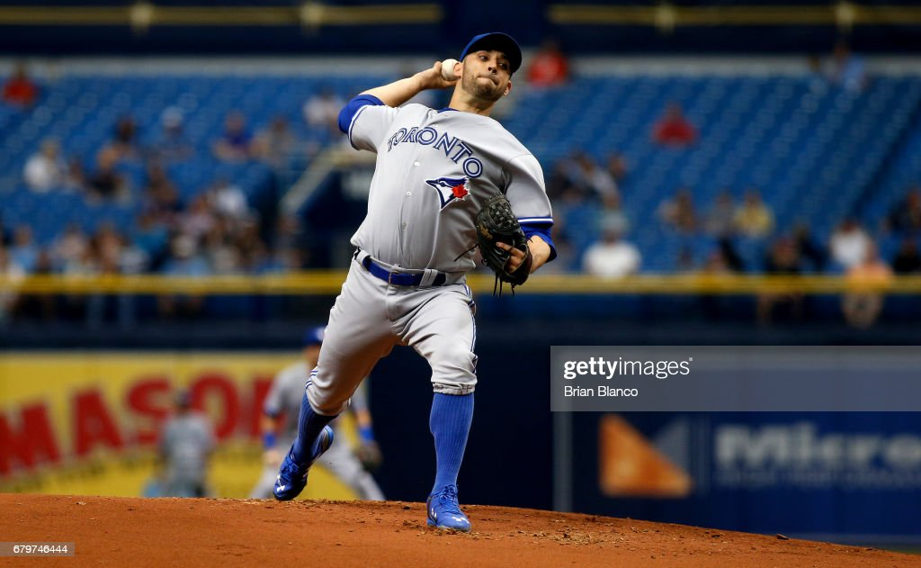 Marco Estrada #25 of the Toronto Blue Jays pitches during the first inning of a game against the Tampa Bay Rays on May 6, 2017 at Tropicana Field in St. Petersburg, Florida.
