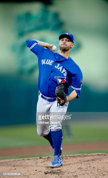 Marco Estrada of the Toronto Blue Jays pitches during the game against the Oakland Athletics at the Oakland Alameda Coliseum on July 30, 2018 in...