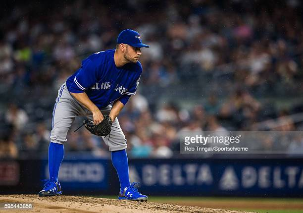 Marco Estrada of the Toronto Blue Jays pitches during the game against the New York Yankees at Yankee Stadium on August 16 2016 in the Bronx borough...