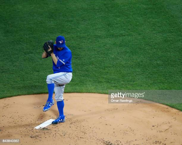 Marco Estrada of the Toronto Blue Jays pitches during the game against the Boston Red Sox at Fenway Park on September 5 2017 in Boston Massachusetts
