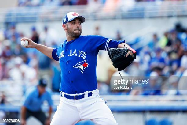Marco Estrada of the Toronto Blue Jays pitches in the first inning of a Grapefruit League spring training game against the New York Yankees at...