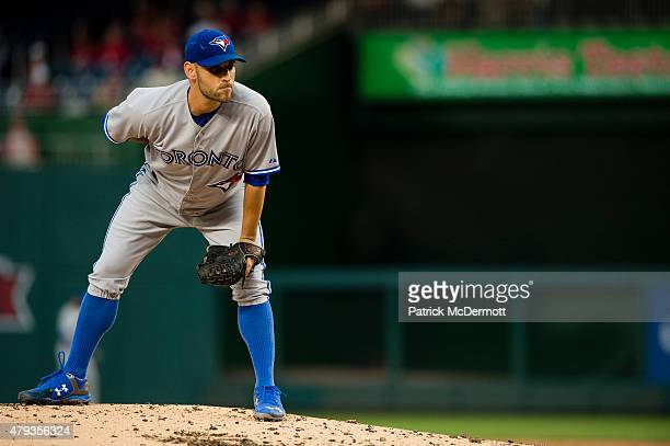 Marco Estrada of the Toronto Blue Jays prepares to throw a pitch to a Washington Nationals batter during a baseball game at Nationals Park on June 2...