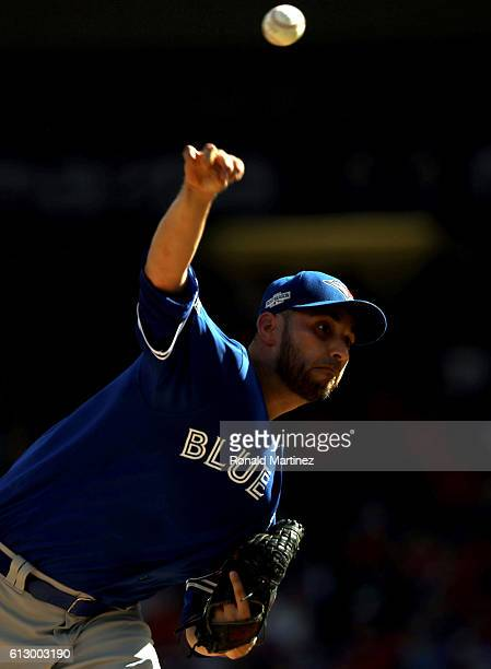 Marco Estrada of the Toronto Blue Jays throws against the Texas Rangers in game one of the American League Division Series at Globe Life Park in...