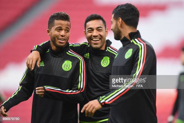 Marco Fabian and Giovani dos Santos during the Mexico Training and Press Conference on June 17 2017 in Kazan Russia
