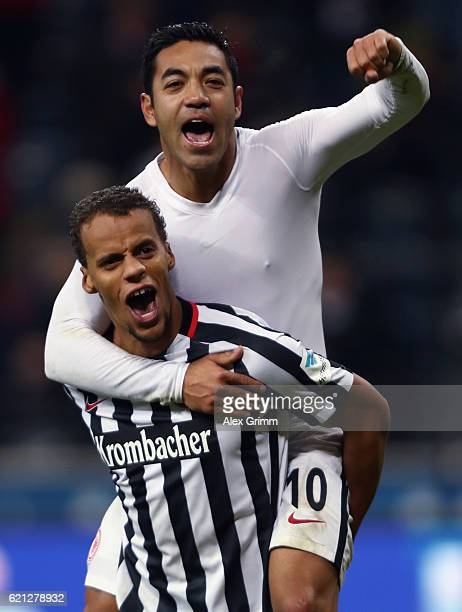 Marco Fabian and Timothy Chandler celebrate after the Bundesliga match between Eintracht Frankfurt and 1. FC Koeln at Commerzbank-Arena on November...