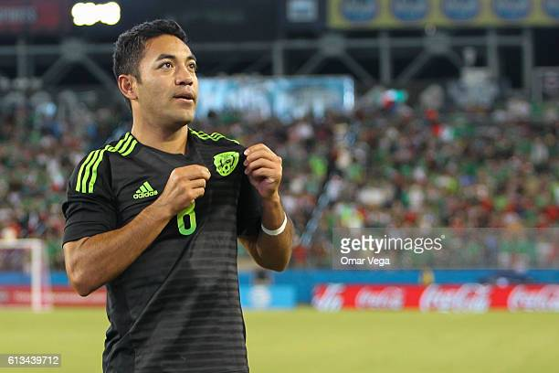 Marco Fabian celebrates after scoring his team's second goal during the International Friendly Match between Mexico and New Zealand at Nissan Stadium...