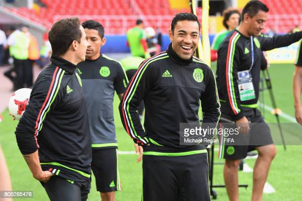 Marco Fabian laughs during the Mexico training session on July 1 2017 in Moscow Russia
