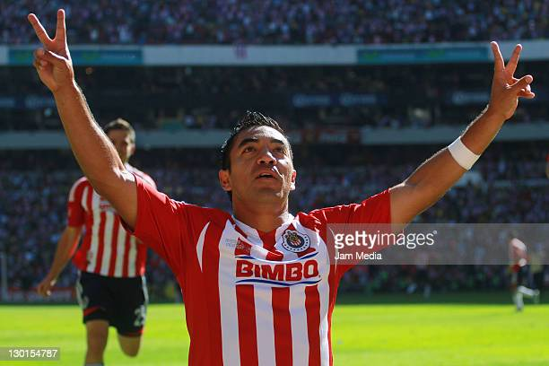 Marco Fabian of Chivas celebrate a scored goal during a match as part of the Apertura 2011 at Azteca Stadium on October 23 2011 in Mexico City Mexico