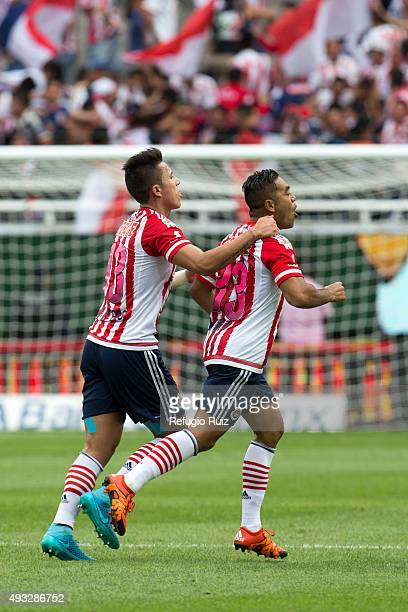 Marco Fabian of Chivas celebrates after scoring the first goal of his team during the 13th round match between Chivas and Puebla as part of the...