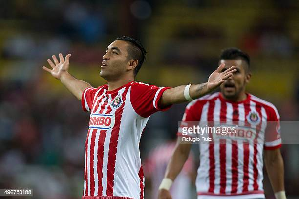 Marco Fabian of Chivas celebrates after scoring the opening goal during the 14th round match between Atlas and Chivas as part of the Apertura 2015...