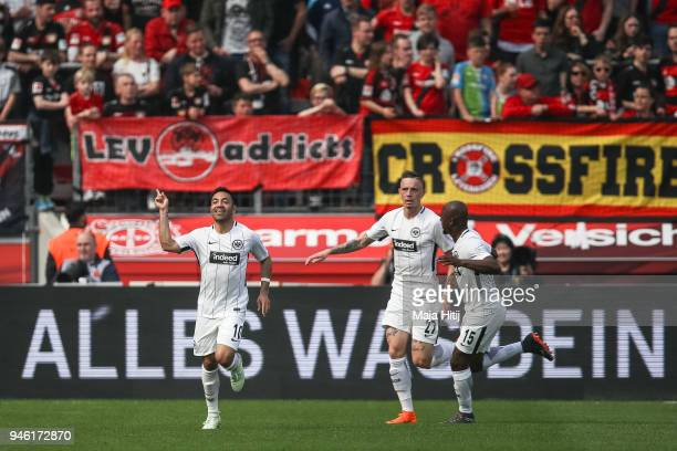 Marco Fabian of Eintracht Frankfurt celebrates after he scores the equalizing goal to make it 11 during the Bundesliga match between Bayer 04...