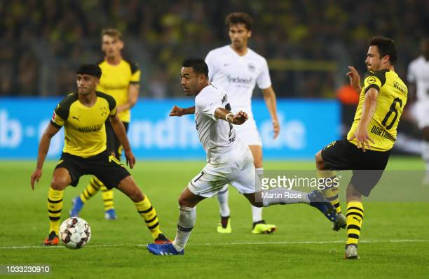 Marco Fabian of Eintracht Frankfurt evades Thomas Delaney of Borussia Dortmund during the Bundesliga match between Borussia Dortmund and Eintracht...