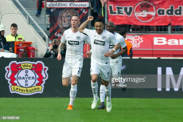 Marco Fabian of Frankfurt celebrates after scoring his team`s first goal during the Bundesliga match between Bayer 04 Leverkusen and Eintracht...