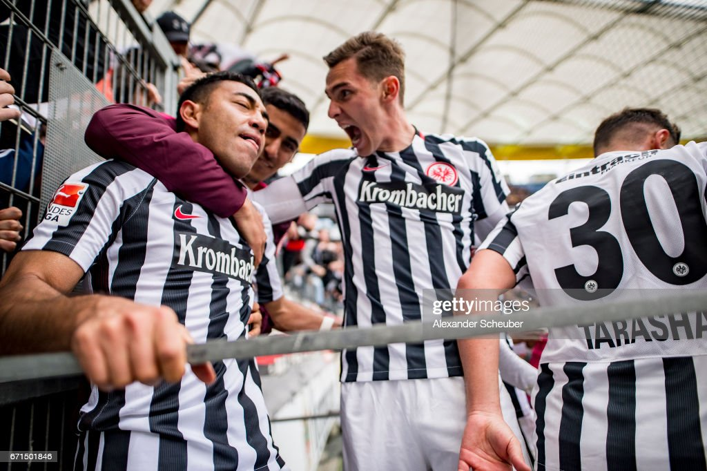 Marco Fabian of Frankfurt celebrates his second goal for his team with his teammates during the Bundesliga match between Eintracht Frankfurt and FC Augsburg at Commerzbank-Arena on April 22, 2017 in Frankfurt am Main, Germany.