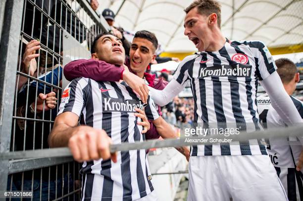Marco Fabian of Frankfurt celebrates his second goal for his team with his teammates during the Bundesliga match between Eintracht Frankfurt and FC...