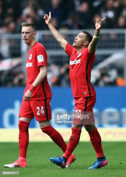 Marco Fabian of Frankfurt celebrates his team's first goal during the Bundesliga match between Borussia Dortmund and Eintracht Frankfurt at Signal...