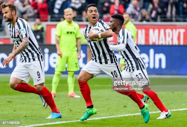 Marco Fabian of Frankfurt celebrates the first goal for his team during the Bundesliga match between Eintracht Frankfurt and FC Augsburg at...