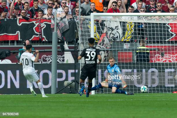 Marco Fabian of Frankfurt scores the team`s first goal during the Bundesliga match between Bayer 04 Leverkusen and Eintracht Frankfurt at BayArena on...
