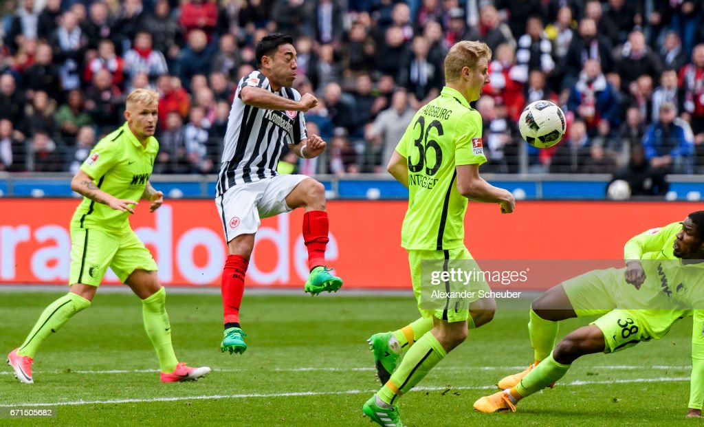Marco Fabian of Frankfurt sores the second goal for his team during the Bundesliga match between Eintracht Frankfurt and FC Augsburg at Commerzbank-Arena on April 22, 2017 in Frankfurt am Main, Germany.