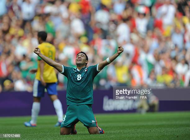 Marco Fabian of Mexico celebreates at the end of the Men's Football Gold Medal match between Brazil and Mexico on Day 15 of the London 2012 Olympic...