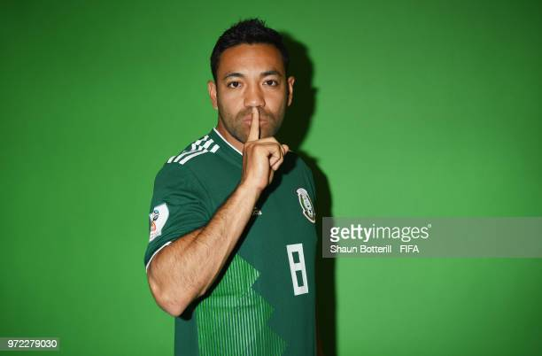Marco Fabian of Mexico poses for a portrait during the official FIFA World Cup 2018 portrait session at the team hotel on June 12 2018 in Moscow...