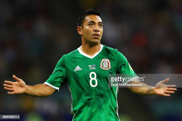 Marco Fabian of Mexico reacts during the FIFA Confederations Cup Russia 2017 Group A match between Mexico and New Zealand at Fisht Olympic Stadium on...