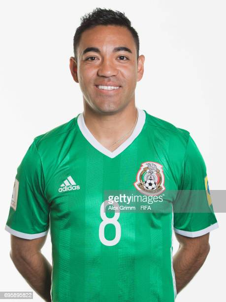 Marco Fabian poses for a picture during the Mexico team portrait session on June 14 2017 in Kazan Russia