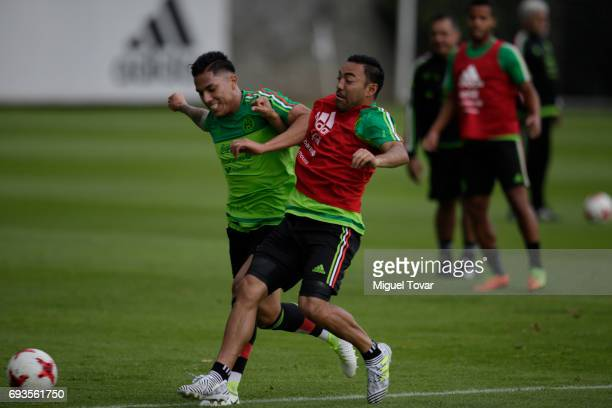 Marco Fabian trains with Carlos Salcedo during a Mexico national team training session at CAR on June 07 2017 in Mexico City Mexico