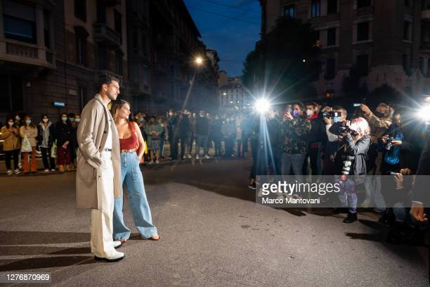 Marco Fantini and Beatrice Valli are seen outside of Salvatore Ferragamo's fashion show during the Milan Women's Fashion Week on September 26, 2020...