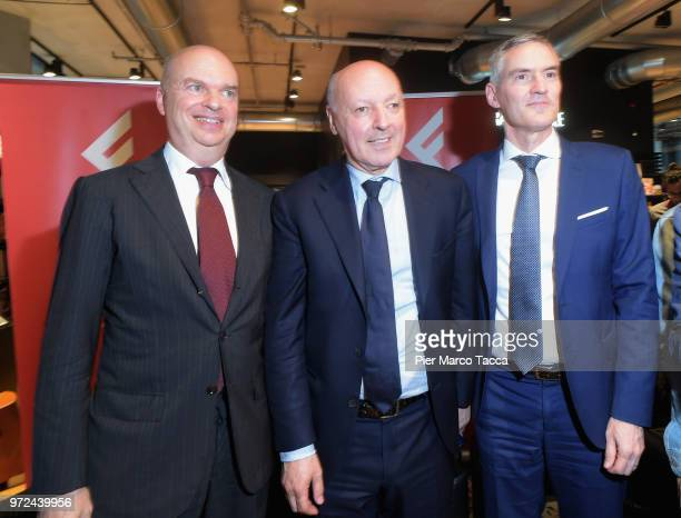 Marco Fassone CEO of AC Milan Giuseppe Marotta CEO of Juventus FC and Alessandro Antonello CEO of FC Internazionale attend the 'La Fine del Calcio...