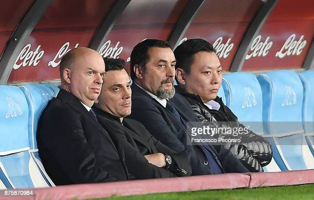 Marco Fassone the ad of AC Milan Vincenzo Montella the coach of AC Milan Massimiliano Mirabelli the chief sport officer of AC Milan and David Han Li...