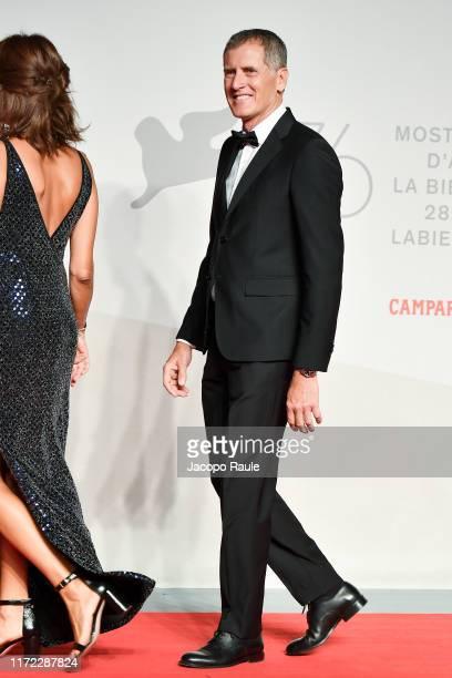 Marco Ferragni walks the red carpet ahead of the Chiara Ferragni Unposted screening during the 76th Venice Film Festival at Sala Giardino on...