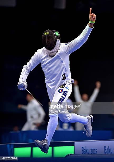 Marco Fichera of Italy celebrates victory over Michele Niggeler of Switzerland in the Men's Fencing Team Epee Final during day fifteen of the Baku...