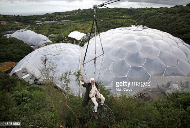 Marco Fiera from NoFit State Circus tries out the SkyWire the new zip wire attraction which opens to the public this week at The Eden Project on July...