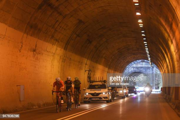 Marco Frapporti of Italy and Team Androni Sidermec Bottecchia / Oscar Rodriguez of Spain / and Team Euskadi Murias / Quentin Jauregui of France and...
