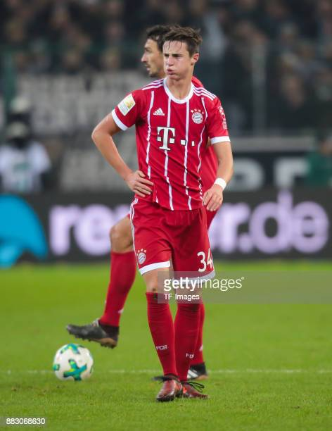 Marco Friedl of Bayern Muenchen looks on during the Bundesliga match between Borussia Moenchengladbach and FC Bayern Muenchen at BorussiaPark on...