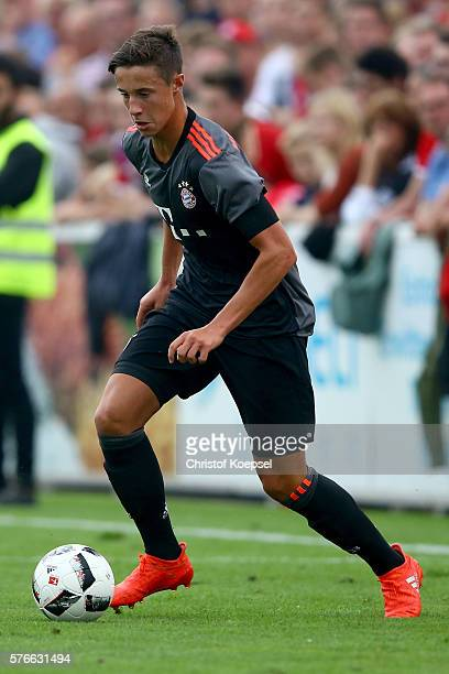 Marco Friedl of Bayern Muenchen runs with the ball during the friendly match between SV Lippstadt and FC Bayern at Stadion am Bruchbaum on July 16...