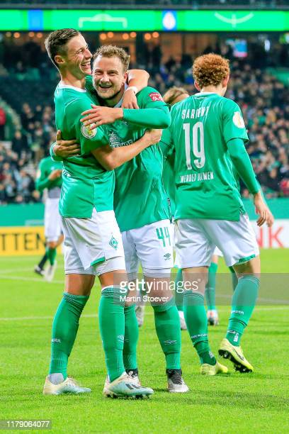 Marco Friedl of Bremen celebrates scoring his team's fourth goal during the DFB Cup second round match between Werder Bremen and 1. FC Heidenheim...