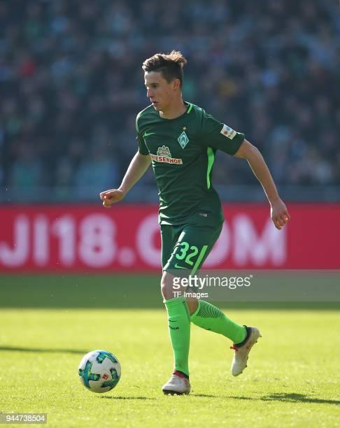 Marco Friedl of Bremen controls the ball during the Bundesliga match between Werder Bremen and Eintracht Frankfurt at Weserstadion on April 01 2018...