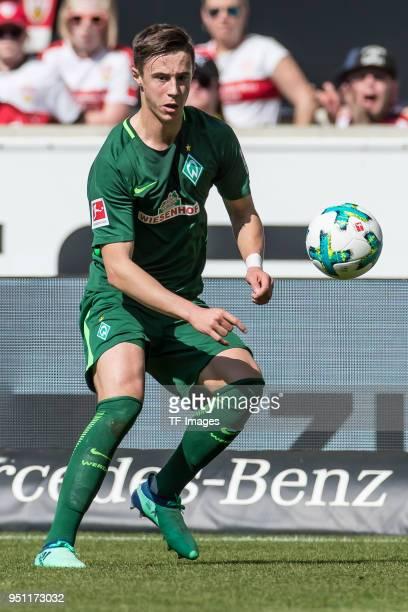 Marco Friedl of Bremen controls the ball during the Bundesliga match between VfB Stuttgart and SV Werder Bremen at MercedesBenz Arena on April 21...