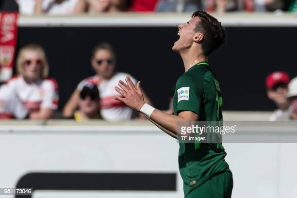 Marco Friedl of Bremen gestures during the Bundesliga match between VfB Stuttgart and SV Werder Bremen at MercedesBenz Arena on April 21 2018 in...