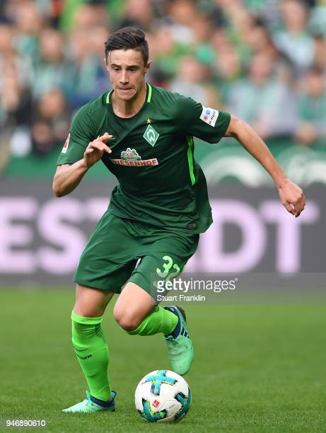 Marco Friedl of Bremen in action during the Bundesliga match between SV Werder Bremen and RB Leipzig at Weserstadion on April 15 2018 in Bremen...