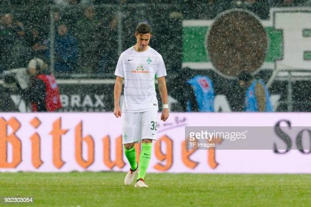 Marco Friedl of Bremen looks dejected during the Bundesliga match between Borussia Moenchengladbach and SV Werder Bremen at BorussiaPark on March 2...