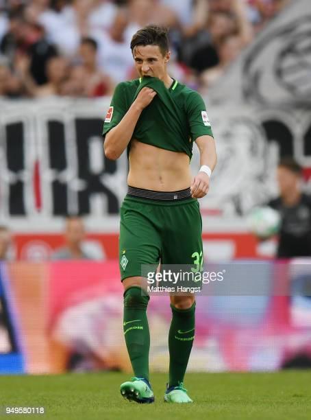 Marco Friedl of Bremen reacts during the Bundesliga match between VfB Stuttgart and SV Werder Bremen at MercedesBenz Arena on April 21 2018 in...