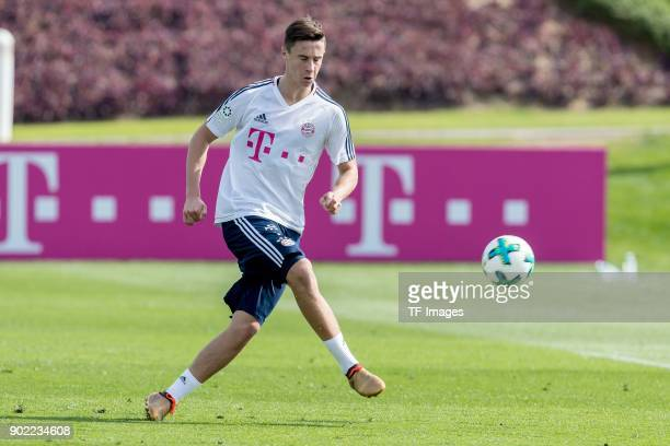 Marco Friedl of Muenchen controls the ball during the FC Bayern Muenchen training camp at Aspire Academy on January 05 2018 in Doha Qatar