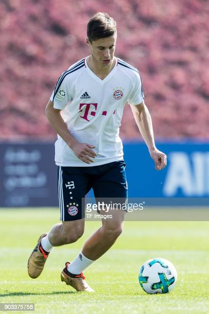 Marco Friedl of Muenchen controls the ball during the FC Bayern Muenchen training camp at Aspire Academy on January 06 2018 in Doha Qatar