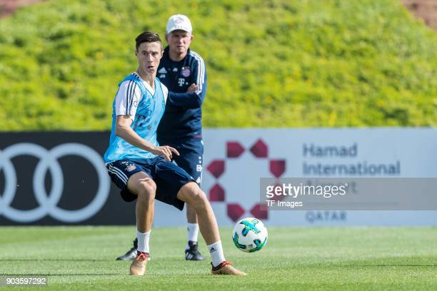 Marco Friedl of Muenchen controls the ball during the FC Bayern Muenchen training camp at Aspire Academy on January 07 2018 in Doha Qatar